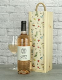 French Rose Wine Wood Box Gift