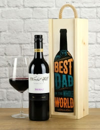 Best Dad in the World Shiraz Wood Box Wine Gift