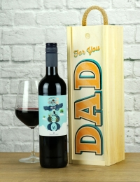 For Dad Malbec Wood Box Wine Gift