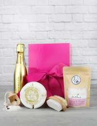 Mini Gold Prosecco & Bath Salts Pink Box Gift