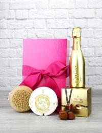 Mini Gold Prosecco & Champagne Truffles Pink Gift Box