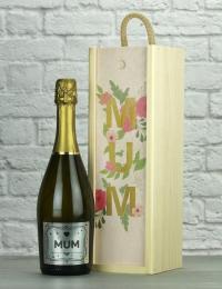 Mum Prosecco Wood Box Gift