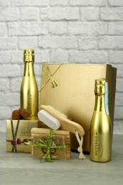 Gold Prosecco with champagne truffles spa treat