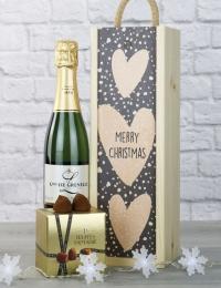 Sparkling Saumur & Truffles Merry Christmas Gift Box
