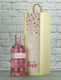 With Love MG Pink Gin Wood Box Gift